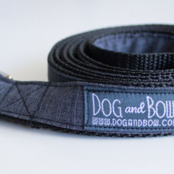Dark Gray Suit Dog Leash by Dog and Bow