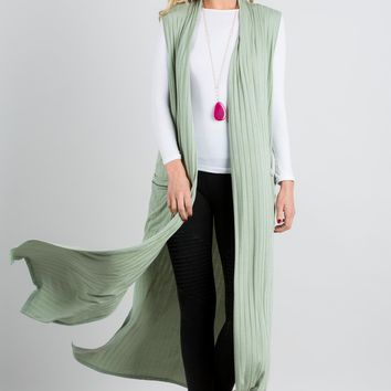Rib Side Slit Duster with Pockets