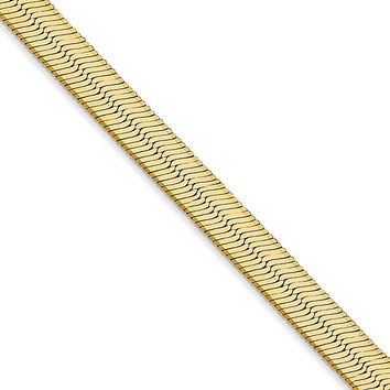 5.5mm, 14k Yellow Gold, Solid Herringbone Chain Necklace
