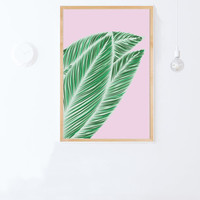 Tropical Leaves Print- Instant Download-Printable Pink and Green Wall Art-Topical Leaf Poster-24x36-printable women gift-downloadable gift