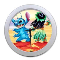 Home Decor Unique Cool Lilo and Stitch Digital Quartz Wall Clock 9.65 Inch