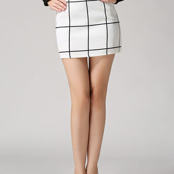 Plaid Bodycon White Skirt | MakeMeChic.COM