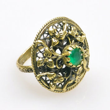 Authentic Ottoman Style Jade Stone Ring, Turkish Jewelry, Jewelry Findings, Boho Ring, Gypsy Style