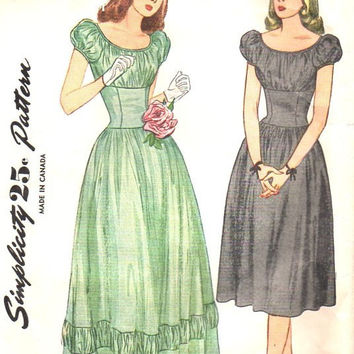 Simplicity 1775 Sewing Pattern 1940s Debutante Evening Gown Party Garden Tea Dress Peasant Style Fitted Bodice Full Gathered Skirt Bust 34