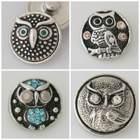 The Owls  4 PACK snap button charms that fit Noosa /Ginger snap style bracelet or pendants