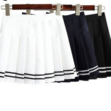 Women's AA style Pleated Bust Skirt Mini High waist vintage tennis skirts black and white cute short skirts S M L