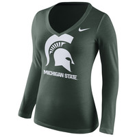Michigan State Spartans Nike Women's Logo Mid V-Neck Long Sleeve T-Shirt - Green
