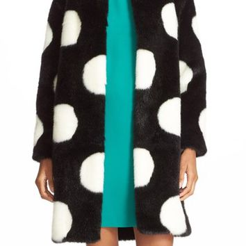 kate spade new york polka dot faux fur coat | Nordstrom