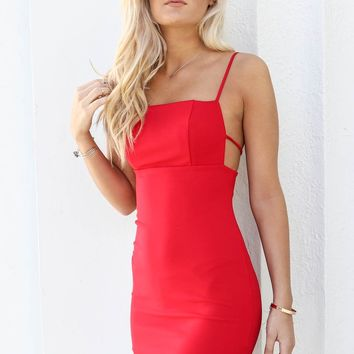 Fireball Red Strappy Party Dress