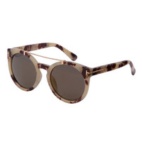 Trendy Women's Brown Frame Top Bar Oversized Round Sunglasses