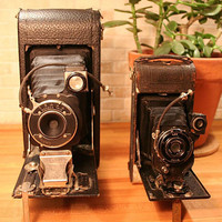 Antique Folding Camera Lot - Seneca No 2A Folding Scout and Ansco No 1A Folding Camera