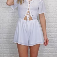 The Wait Is Over Romper {Off White}