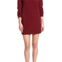 Cotton Emporium Cable Knit Turtleneck Sweater Dress | Nordstrom