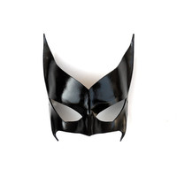 Batwoman Leather Mask Black Super Hero Kate Kane Cosplay Sexy Masquerade Heroic Hotness Carnival Halloween Mardi Gras Batman Costume Party