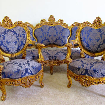 Antique French Gold  Royal Blue Baroque/Rococo Settee and Two Chairs Louis XVI