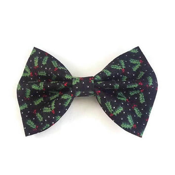 Holly Berry Bow • Christmas Bow • Winter Bow • Snowflake Bow • Stocking Stuffers • Christmas Gifts • Santa bow • Polkadot Bow  gifts under 5