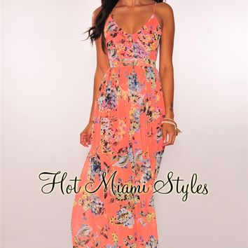 Coral Floral Open Back Maxi Dress