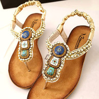 Beads Embellished Flat Sandals FC060502f