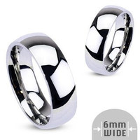 I Do! - 6mm Glossy Silver Stainless Steel Traditional Wedding Band