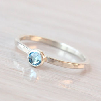 March birthstone ring, 4 mm Swarovski Aquamarine crystal, handmade sterling silver ring, stacking ring, mothers ring, March birthday gift