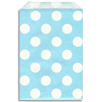 Light Blue - White Dot Paper Bags