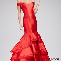Jovani Off-the-Shoulder Mermaid Dress- Red