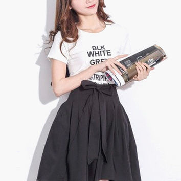 Black Bow Tie Pleated Long Back Skirt