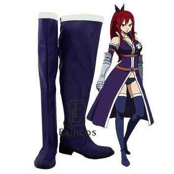 Anime Fairy Tail Erza Scarlet Blue Cosplay Shoes Boots Customized Size