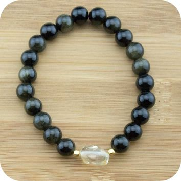 Gold Obsidian Yoga Jewelry Bracelet with Citrine