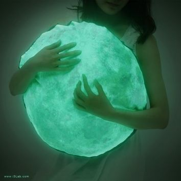 Moonlight hug pillow / NOCTURN BY MOONLIGHT ( glow in the dark moon cushion ) from i3 Lab. [i-cubed-lab] design studio | Made By i3Lab. [i-cubed-lab] | £90.00 | BOUF