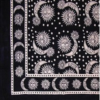 Handmade 100% Cotton Celestial Sun Moon & Star Tapestry Coverlet Black White Twin