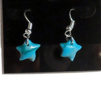 Polymer clay earrings green turquoise aqua teal silver mokume - star shaped
