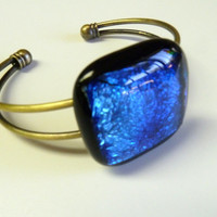 Blazing Blue DIchroic Fused Glass Bangle Bracelet