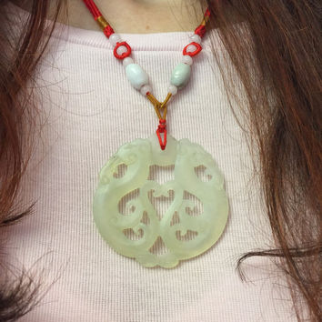 Feng Shui Jade Pendant Twin Dragons