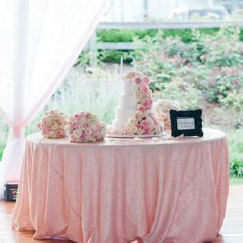 Pink Sequin Tablecloth