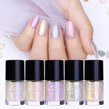 BORN PRETTY 9ml Transparent Shell Glimmer Nail Polish Shiny Glitter Nail Lacquer Varnish Polish Nail Art