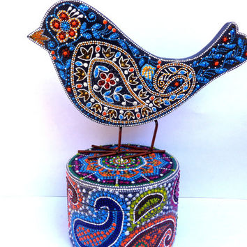 Paisley set of 2 Bird and casket Point-to-point