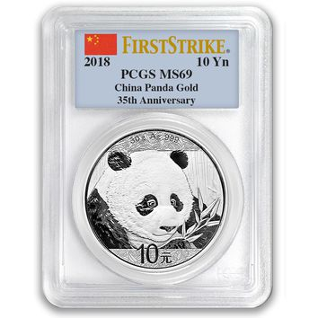 2018 Silver China Panda 10Y PCGS MS69 First Strike (35th Anniversary Label)