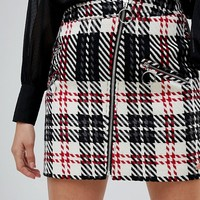 River Island Check A-Line Mini Skirt at asos.com