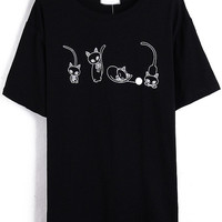 Black Short Sleeve Cats Print T-Shirt