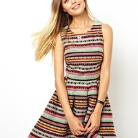 ASOS Sundress With Cut Out Side In Geo-Tribal Jacquard - Multi