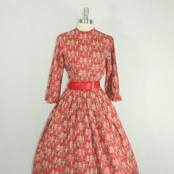 1950s Dress Vintage LANZ Red White and by VintageFrocksOfFancy
