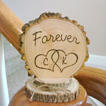 Wedding Cake Topper Rustic Wood Personalized Forever Intertwined Hearts
