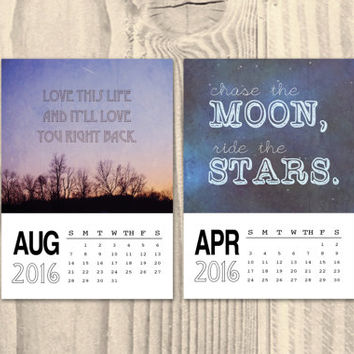 Quote calendar 2016, 5x7 desk calendar, word art calendar, 5x7 quote calendar, typography, office, inspirational, motivational, quote prints