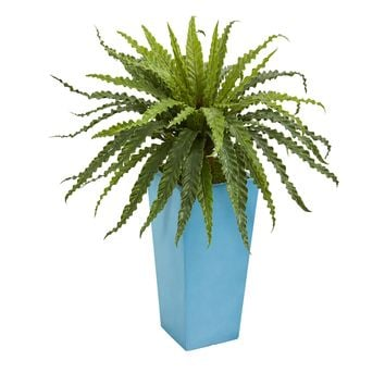 Asplenium Artificial Plant in Turquoise Planter
