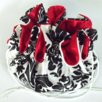 Dollar Dance Bag Satin Bridal Money Wedding Purse Black and White Damask/Red No Pockets