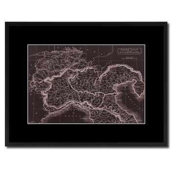 Northern Italy Vintage Vivid Sepia Map Canvas Print, Picture Frames Home Decor Wall Art Decoration Gifts