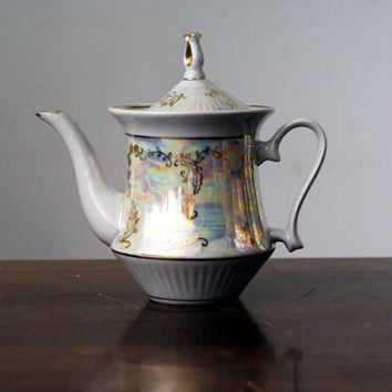 Vintage teapot from the Soviet era, mother of pearl imitations, gold decorations (1970s)