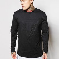 ASOS Super Longline Long Sleeve T-Shirt With Extended Hem And Embossed Triangle