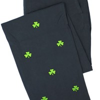 Embroidered Harbor Pants in Nantucket Navy with Shamrocks by Castaway Clothing